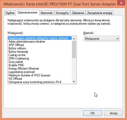 Zaawansowane ustawienia karty Intel Pro/1000 PT Dual Port w Windows 8.1
