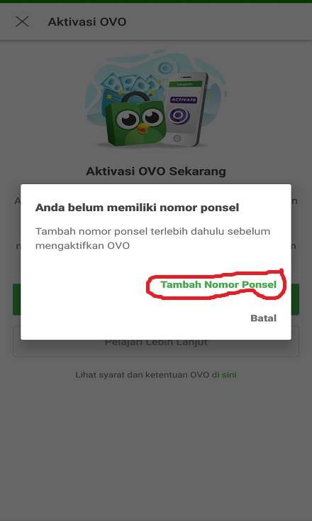 Menambahkan Nomor Ponsel OVO Cash Tokopedia.