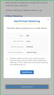 Cara sambung rekening/e-wallet