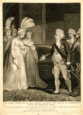 Princess Royal meets the Hereditary Prince of    Württemberg for the first time Published by Laurie and Whittle (1797)   © British Museum