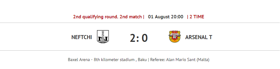 Neftchi vs Arsenal Fight for a place in the Europa League