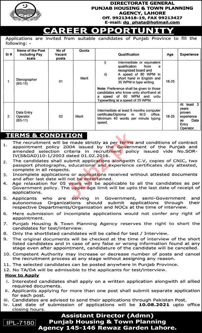 Punjab Housing & Town Planning Agency PHATA Lahore Jobs 2021