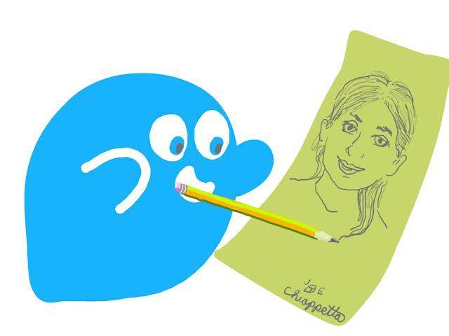 Art by Joe Chiappetta of the mascot from ONO crypto social network drawing a woman