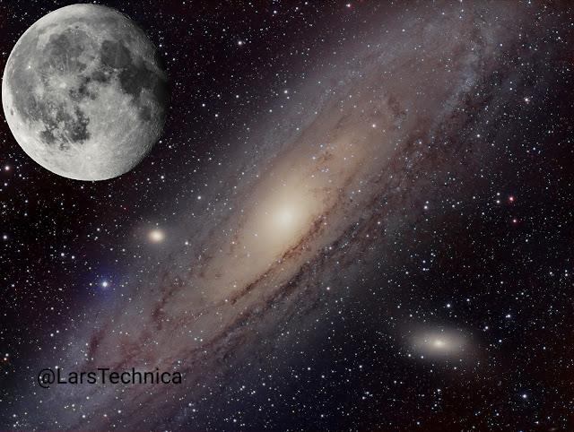 Hình chụp thiên hà Andromeda với mặt trăng