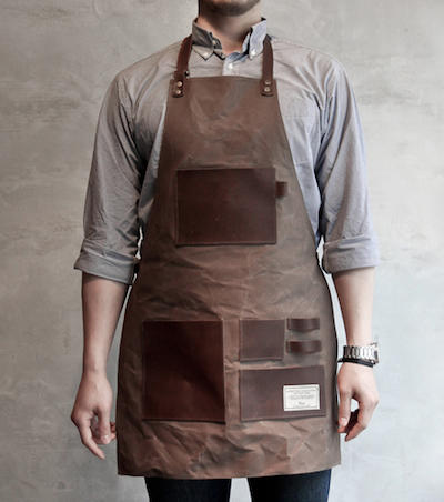 waxed-canvas apron with leather pockets