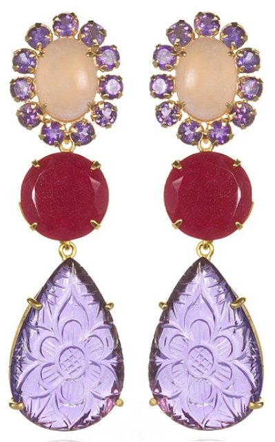 Bounkit Amethyst, Rose Quartz, & Ruby Convertible Earrings. Via Diamonds in the Library.