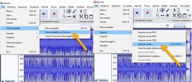 salvare progetto e esportare audio