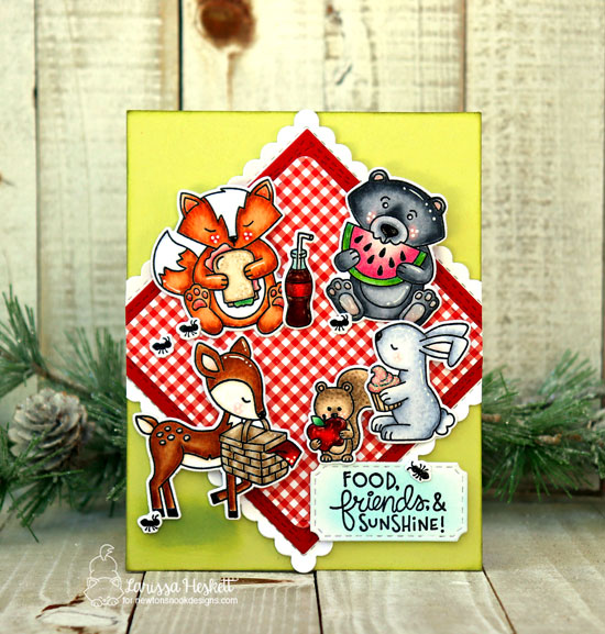 Woodland Picnic Card by Larissa Heskett | Woodland Picnic Stamp Set and Frames Squared Die Set by Newton's Nook Designs #newtonsnook #handmade