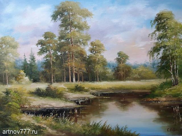 картина Сосны у пруда
