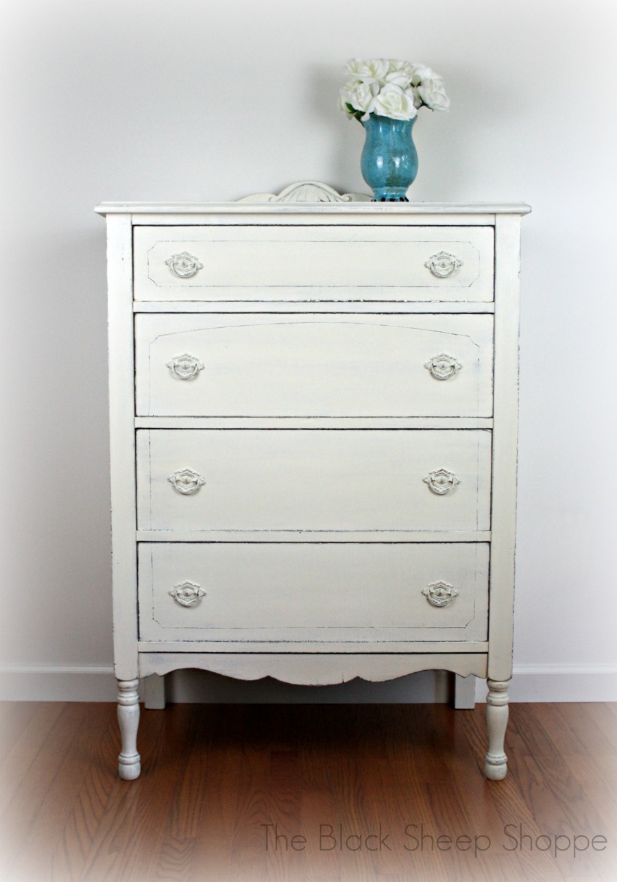 After: Vintage dresser  painted in farmhouse style white.