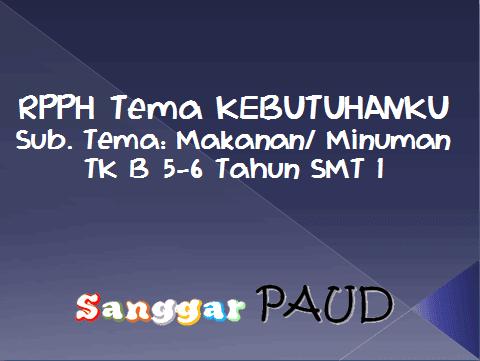 RPPH Tema KEBUTUHANKU Sub. Tema: Makanan/ Minuman