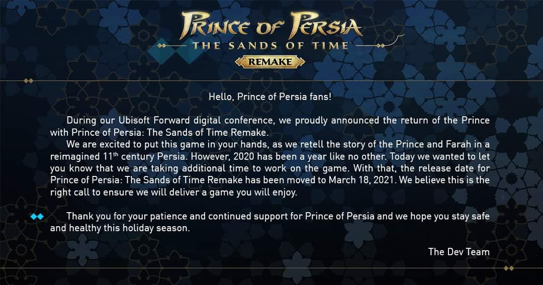 prince of persia the sands of time remake release date