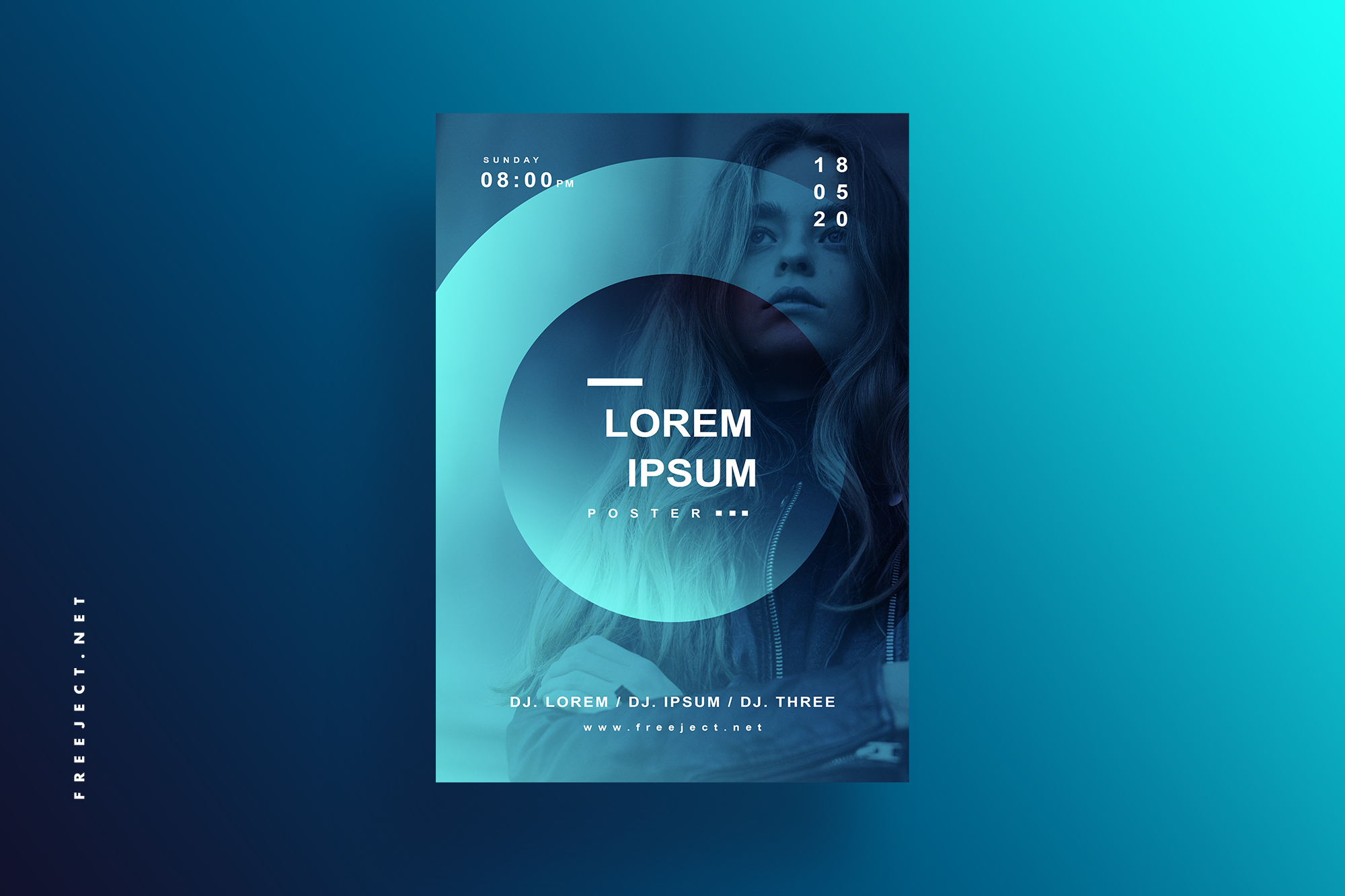 Free Download Blue Gradient Music Event Poster Design Template Psd File Freeject
