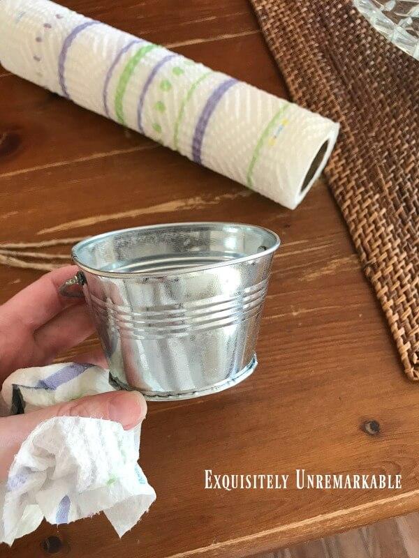 Mini Galvanized Bucket in hand