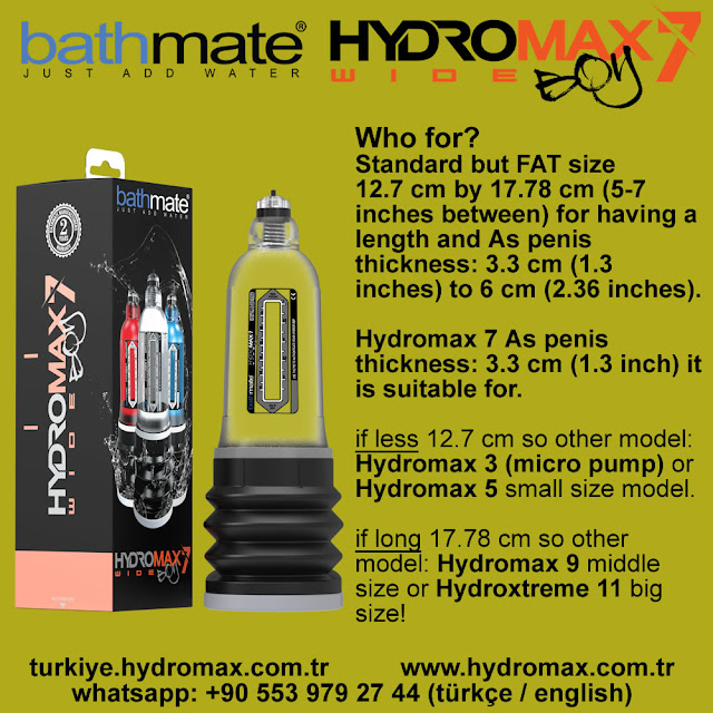 Bathmate Hydromax 7 Wide Boy penis Pump size chart. Best penis pumps from bathmate.