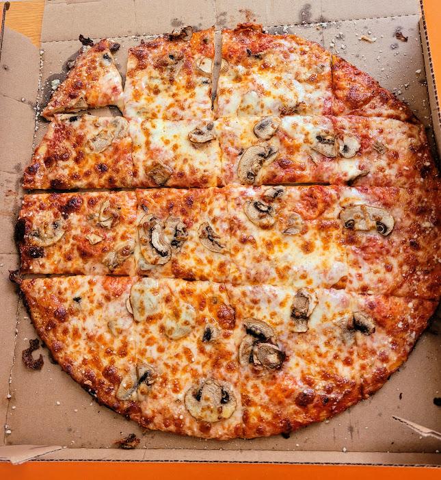 Mushroom thin crust pizza from Cottage Inn