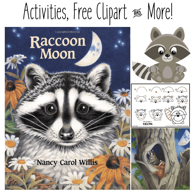 "Book review of Raccoon Moon plus free clipart, related raccoon activities and a list of some more ""can't be missed"" raccoon picture books. I also have some super cute raccoons clipart for sale! #raccoonmoon #booksforkids #gradeonederful"