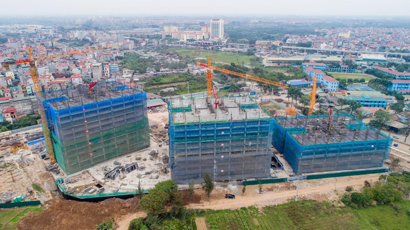 Tòa CT1B đã xây dựng tới tầng 10, đổ sàn tầng 11