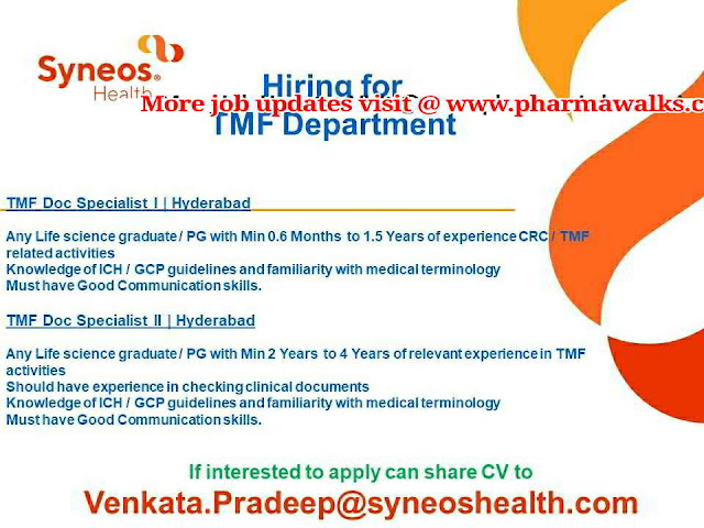 Syneos Hiring for TMF department   Any Life Science Graduates can Apply