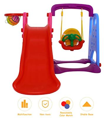 Baybee 3 in 1 Foldable Baby Garden Slide Plastic Garden Slide for Preschool Boys and Girls