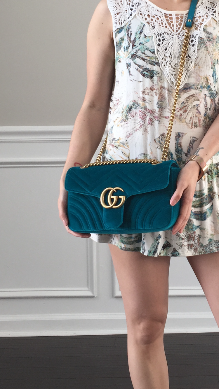 bf86ad51d5ba Petite Impact: Review- Gucci Marmont Chevron Velvet Shoulder Bag!