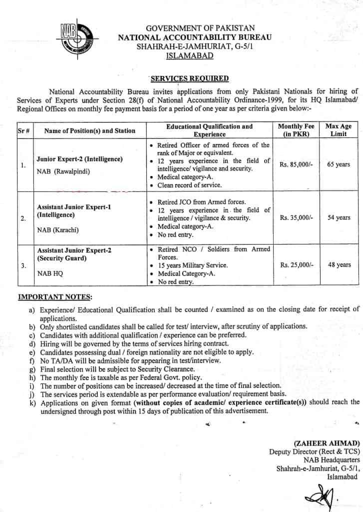National Accountability Bureau (NAB) Jobs 2021