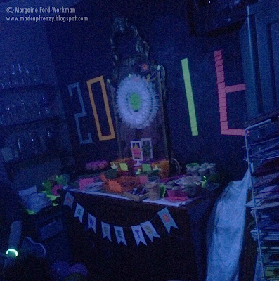 Glow in the New Year 2016 sweets table and neon dishware