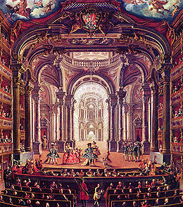 An 18th century painting of the original interior of the Teatro Reale in Turin