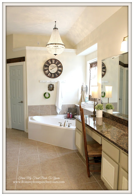 Mia Chandelier-Pottery barn-Chandelier Above tub-Farmhouse Master Bathroom- From My Front Porch To Yours