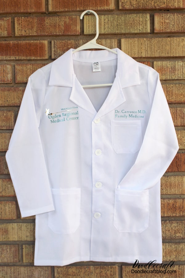 Make a perfect mini lab coat for a Halloween costume using Cricut iron-on vinyl in just a few minutes!