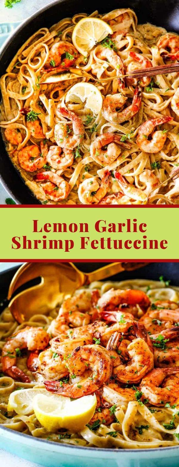 Lemon Garlic Shrimp Fettuccine