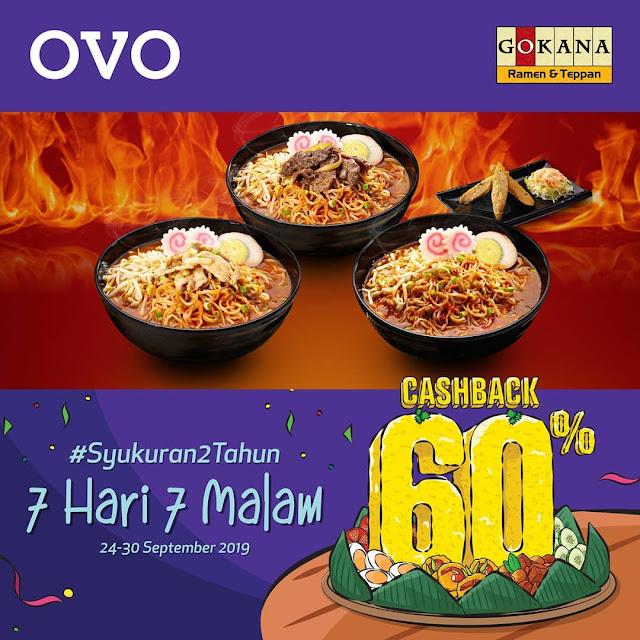 #Gokana - #Promo Cashback 60% Syukuran 2 Tahun Pakai OVO (s.d 30 Sept 2019)