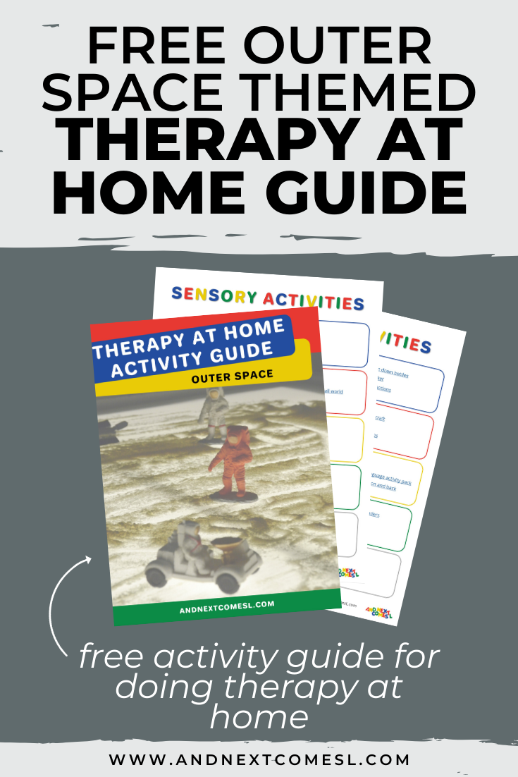 Free outer space themed therapy at home activity guide for parents and therapists