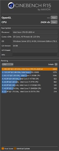 Cinebench Dual Xeon E5-2630v4