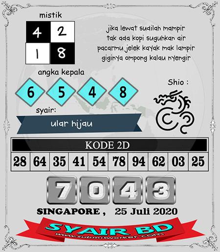 Syair Bd SGP Sabtu 25 Juli 2020