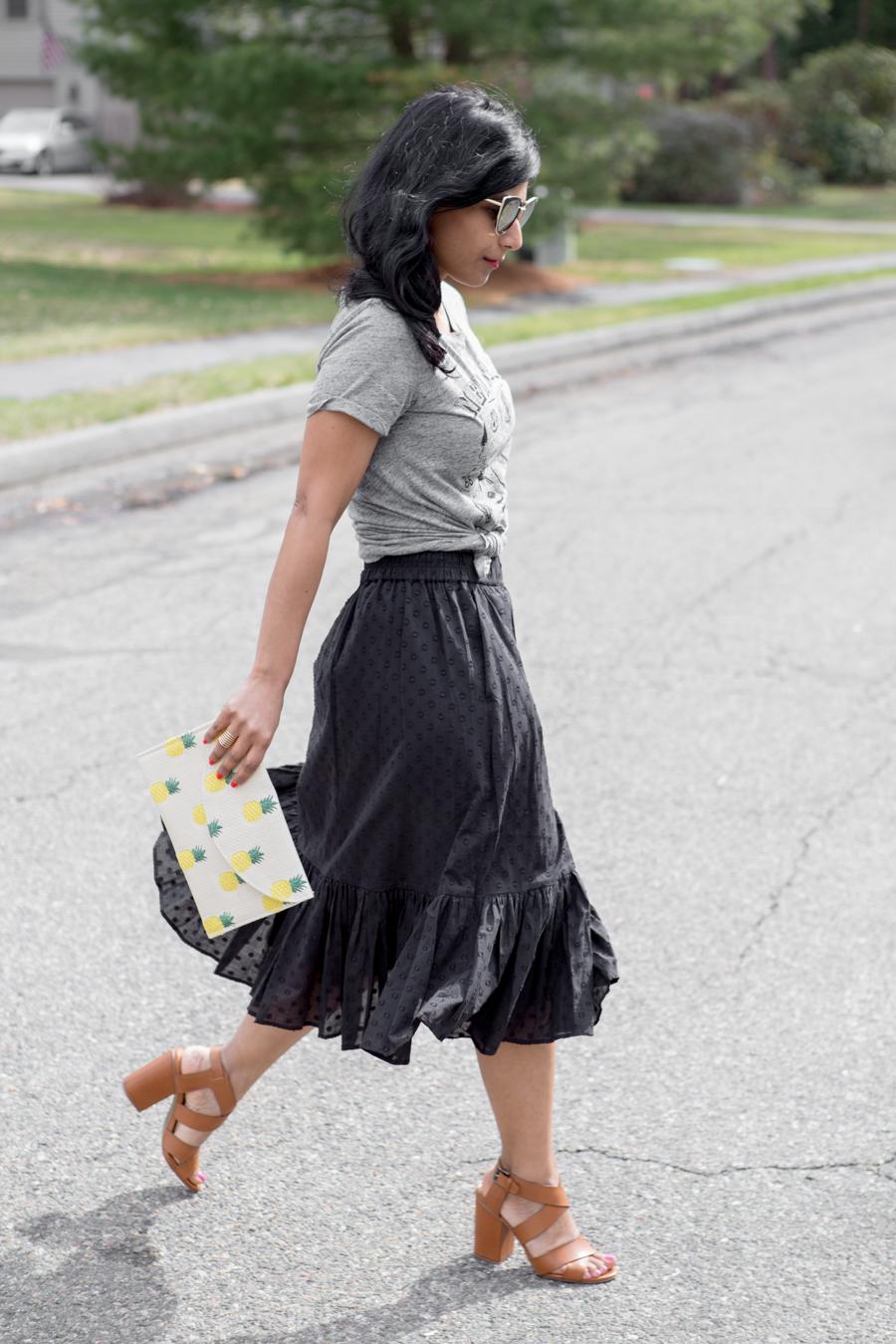 Flounce and Eyelet Midi Skirt