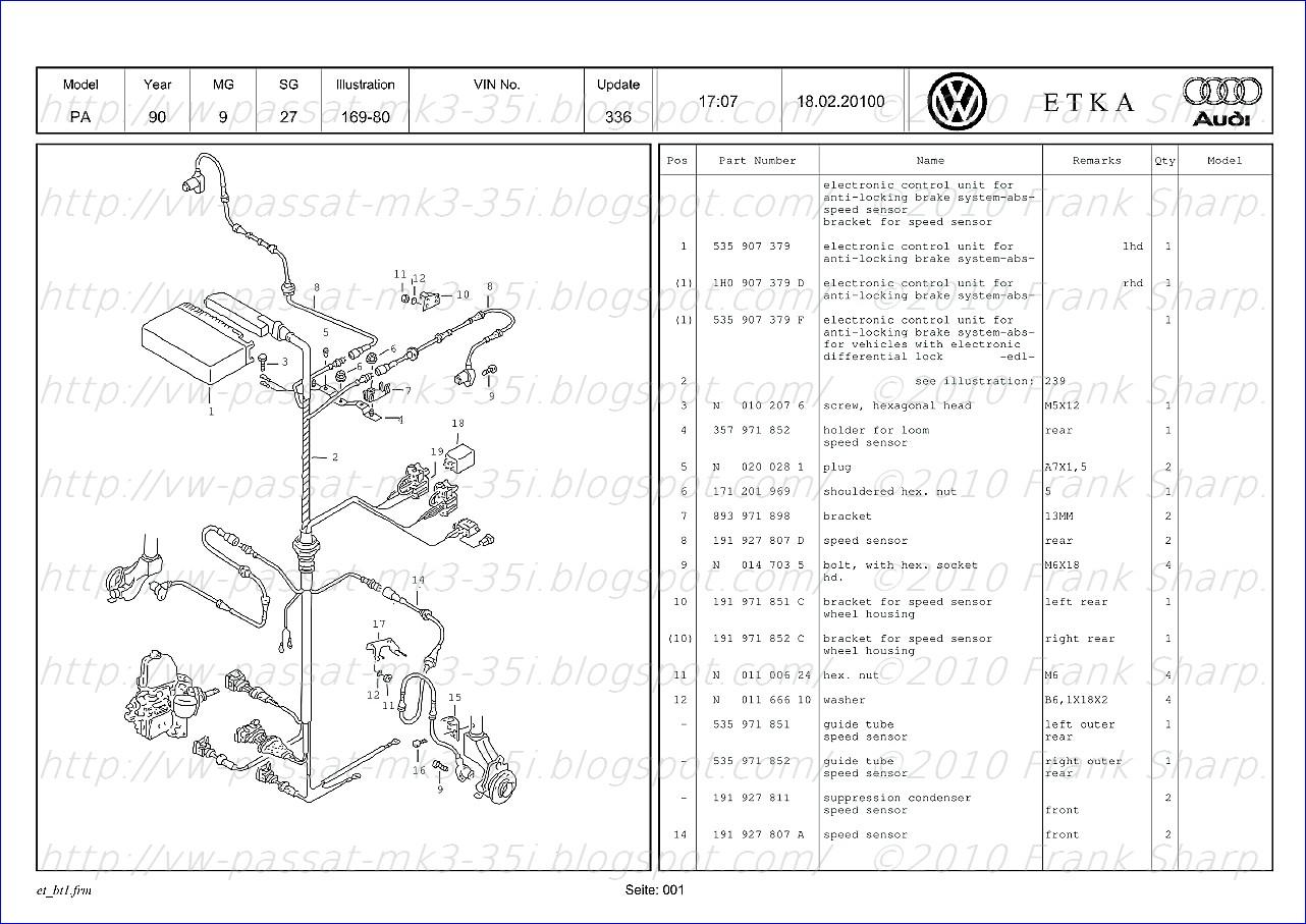 Volkswagen Touran Wiring Diagram Webasto Passat 35i Mk3 Abs Teves