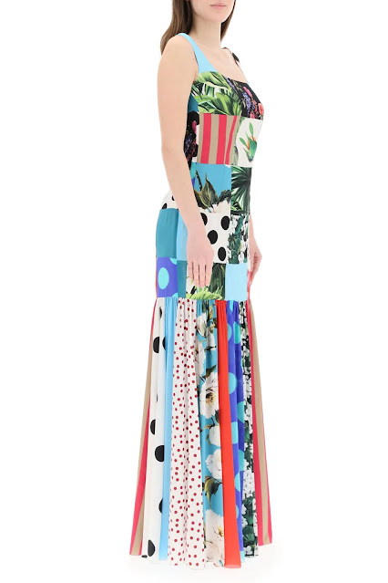 Shop Now: D & G DOLCE & GABBANA LONG PATCHWORK DRESS 40 Light blue, White, Black, Green, Pink Silk (RMNOnline.net)