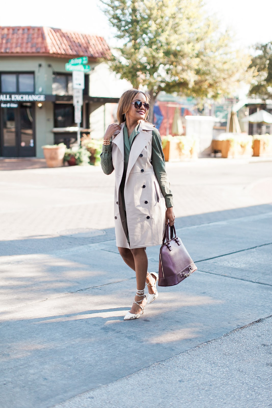 Banana Republic olive trench dress, olive, fall fashion, how to layer, ann taylor, trench dress, steve madden raela pump, justfab, dallas fashion blogger, fashion blogger, detroit fashion blogger, black fashion blogger, steve madden