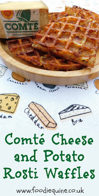 www.foodiequine.co.uk This vegetarian breakfast, brunch or side dish combines crispy and cheesy in a Potato Rosti Waffle. The cheese is Comté. Made in in the beautiful French mountains of the Jura Massif it's a delicious unpasteurised cheese full of passion and provenance.