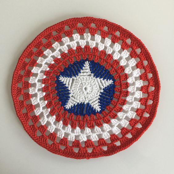 Patrón escudo del capitán América en crochet