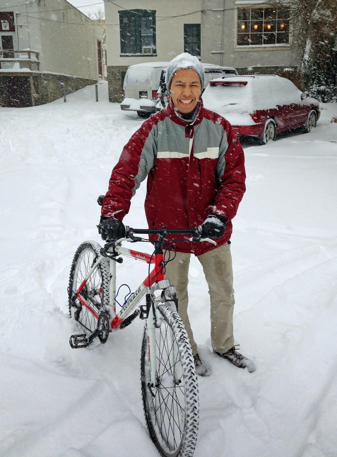 riding my bike in the snow