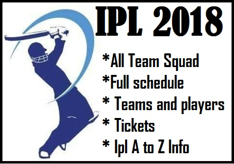 IPL 2018: All Team Squad I full schedule I IPL 2018 A to Z Info