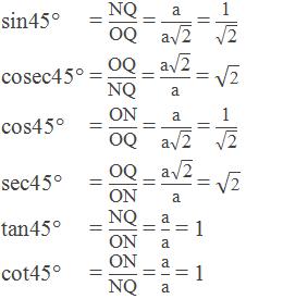 """sin45° = """"NQ"""" /""""OQ""""  = """"a"""" /(""""a"""" √(""""2"""" )) = """"1"""" /√(""""2"""" )      cosec45° = """"OQ"""" /""""NQ""""  = (""""a"""" √(""""2"""" ))/""""a""""  = √(""""2"""" )      cos45° = """"ON"""" /""""OQ""""  = """"a"""" /(""""a"""" √(""""2"""" )) = """"1"""" /√(""""2"""" )      sec45° = """"OQ"""" /""""ON""""  = (""""a"""" √(""""2"""" ))/""""a""""  = √(""""2"""" )      tan45° = """"NQ"""" /""""ON""""  = """"a"""" /""""a"""" = 1     cot45° = """"ON"""" /""""NQ""""  = """"a"""" /""""a""""  = 1"""