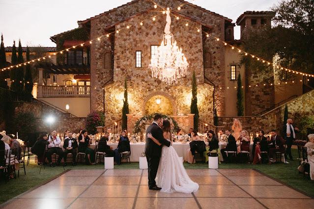 first dance under chandelier