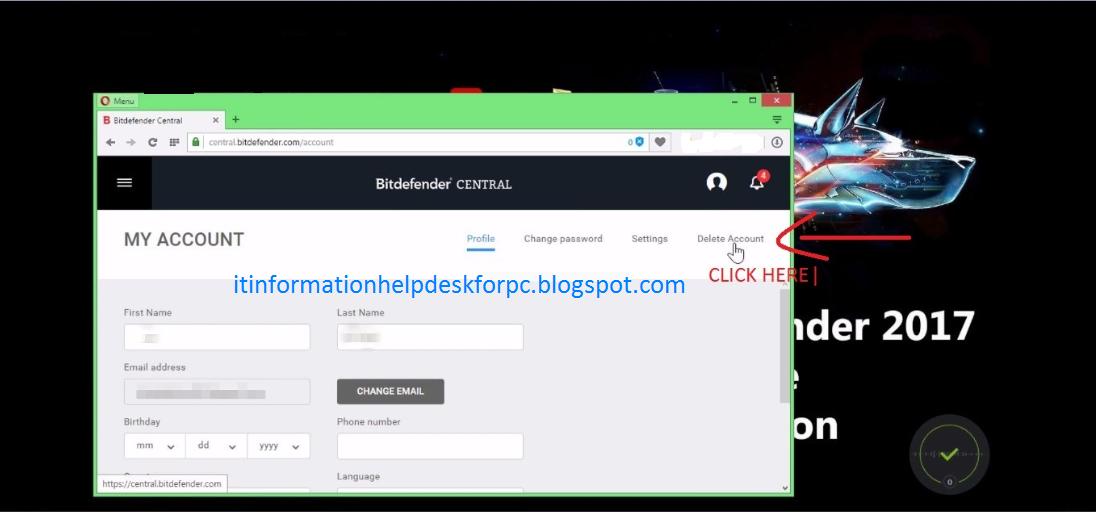 how to delete bitdefender sign in