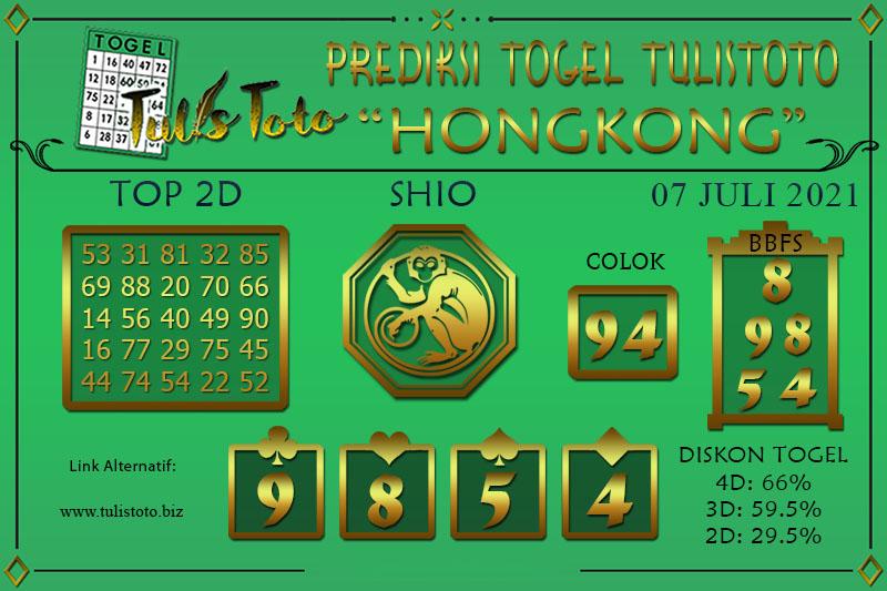 Prediksi Togel HONGKONG TULISTOTO 07 JULI 2021