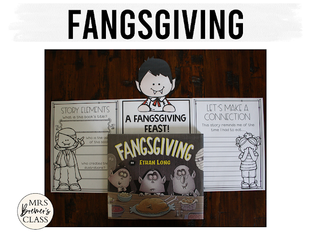 Fangsgiving book study companion activities and craftivity to go with the Thanksgiving themed book by Ethan Long. K-1