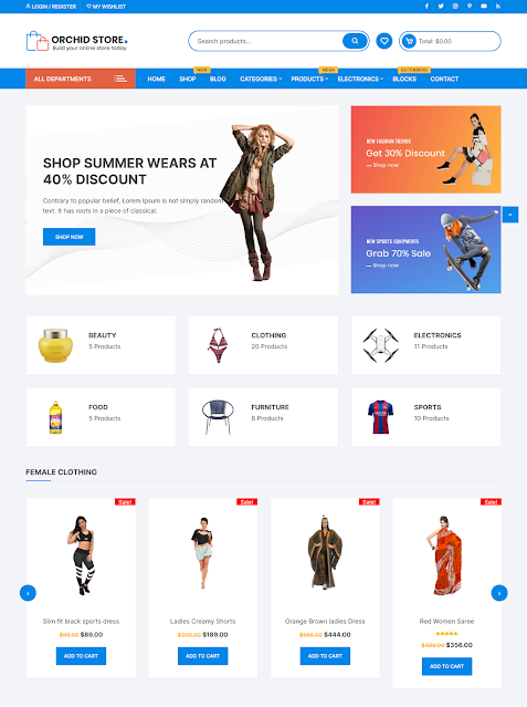 Orchid Store | Top 10 Best Free Ecommerce Themes For WordPress Online Store