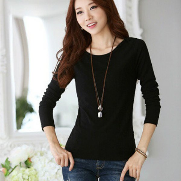 Long Sleeve High Elastic T-Shirt Round Neck Slim Fit Tops - Black Xs
